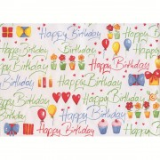 Hartie pt. ambalare, 70 x 200cm/rola, 70gr/mp, alb cu desene, HERLITZ Happy Birthday