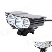 ZHISHUNJIA ZSJ-X3 2000lm 4-modo blanco 3-LED bicicleta luz - Negro (6 x 18650)