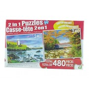 LPF 480 Piece 2-in-1 Puzzle ~ Dawns Light & Red Roofed Covered Bridge, New Hampshire (2 X 240pc Puzzles - Mixed in 1 Box)