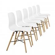 [en.casa] Set de 6 sillas de comedor blancas con estampado - silla de diseño retro