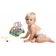 Puzzle Educativ Interactiv din Lemn Masinuta Labirint pentru Copii 1 An+