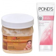 PINK ROOT GOLD SCRUB 500G WITH POND'S WHITE BEAUTY FACEWASH