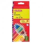 Herlitz Dreikant Buntstifte, Farbstift in ergonomischer Dreiecksform, 1 Packung = 24 Stück, farbig sortiert