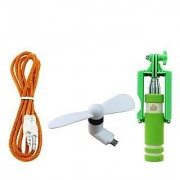 MO Combo of Aux Cable V8 OTG Fan With Mini Selfie Stick