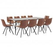 vidaXL Set mobilier de bucătărie, 11 piese, coniac, piele ecologică