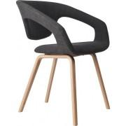 Fotel FLEXBACK 1200096 Zuiver nowoczesny fotel z elastycznym sprężynującym oparciem ciemnoszara tapicerka nogi w kolorze bukowym