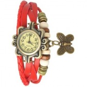 Vintage Round Dial Red Leather Analog Watch For Women By Loretta