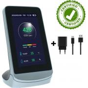 AD & Care ® CO2 meter met USB-Lader - Temperatuur, Luchtvochtigheid en koolstofdioxide. Met Gratis Weetjesboek over luchtkwaliteit. CO2 meter binnen - CO2 meter draagbaar - CO2 monitor - CO2 melder
