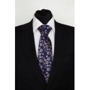 Pánská modrá klasická kravata s kytičkami - 8 cm