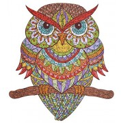Wooden Jigsaw Puzzles - Colorful Owl Hartmaze Hm-04 Small Bird Puzzle 206 Unique Shape Pieces-Beautiful Animal for Adults and Kids- Best Family Game Play Collection.