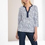 ANNE WEYBURN Bedrucktes Shirt mit V-Ausschnitt und langen Ärmeln