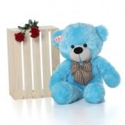 2.5 Feet Huge Blue Teddy Bear with a Bow