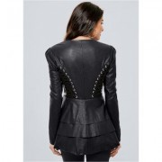 Lace UP Faux Leather Jacket Jackets & Coats - Black