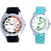 Orange Black Multi Dial And Green Peacock Couple Casual Analogue Wrist Watch By Vivah Mart