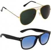 Marabous Aviator, Wayfarer Sunglasses(Green, Blue)