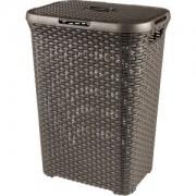 Curver Luxembourg S.a.r.l CURVER STYLE Wäschebox, 60 Liter, Wäschetonne aus Kunststoff, Farbe: dunkelbraun