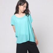 【SALE 70%OFF】ヒューマンウーマン HUMAN WOMAN outlet SUNDRY 幅広Tシャツ (グリーン)