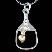 Swarovski Crystal Table Tennis Racket Racquet Ball Ping Pong Necklace