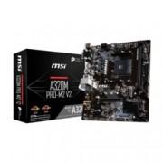 Дънна платка MSI A320M PRO-M2 V2, A320, AM4, DDR4, PCI-E (DVI&DVI-D&HDMI), 4x SATA 6.0 Gb/s, 1x M.2 slot, USB 3.1 Gen1, Micro ATX