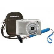 Nikon Kit Cámara digital Nikon Coolpix A100 + Estuche + Palo Selfie Plateada