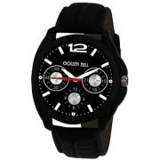 Golden Bell Men'S Black & Black Round Genuine Leather Strap Wrist Watch (305Gb)