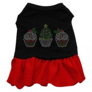 Mirage Pet Products Christmas Cupcakes Rhinestone 10-Inch Pet Dress, Small, Black with Red