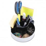 Rotating Desk Organizer, Plastic, 6 X 5 3/4 X 4 1/2, Black/silver