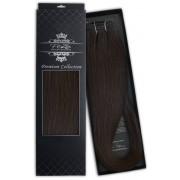 Poze Premium Hårträns Hårförlängning - 110g Midnight Brown 1B - 50cm