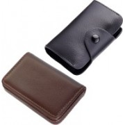 Stealodeal New Black Leatherite High Quality Wallet With Brown Leather 15 Card Holder(Set of 2, Brown, Black)