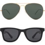 David Martin Aviator Sunglasses(Green, Grey)