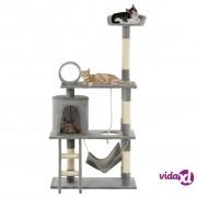 vidaXL Penjalica za mačke sa stupovima za grebanje od sisala 140 cm siva