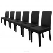[en.casa]® 6 sillas tapizadas (negro) (alta calidad) con patas de madera maciza / piel sintética / elegante / Set ahorro