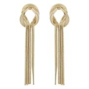 Snö Of Sweden Knot Long Earring, Plain Gold