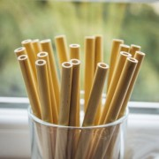 Bambusová brčka 200mm s kolínkem sada 10 ks + 1 kartáček