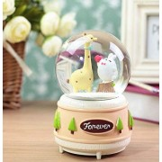 Royarebar Creative Baby Toys Music Boxes Resin Crafts Crystal Ball Snow Music Box Cartoon Deer Music Box(Large,Tree Stump)