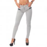V&V Dámslé krčené slim jeans- světlá khaki (28) - V&V