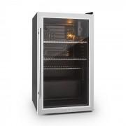 Beersafe XXL Kühlschrank 80 Liter Klasse A+ Glastür Edelstahl Silber   80