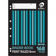 OLYMPIC B816 BINDER BOOK 168 PAGE 8MM RULED A4 PACK 10