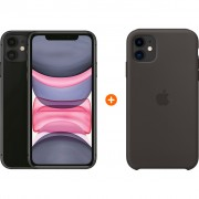 Apple iPhone 11 128 GB Zwart + Apple iPhone 11 Silicone Back Cover Zwart