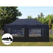 3x6m összecsukható pavilon panoráma ablakos Fekete Professional ()