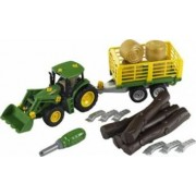 Masinuta Klein John Deere With Trailer For Wood