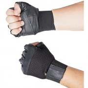 Gym Gloves - Black with Net with Wrist Strap