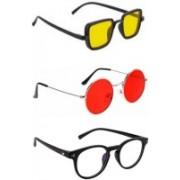 INSH Round, Retro Square, Cat-eye Sunglasses(Yellow, Red, Clear)
