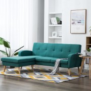 vidaXL Ъглов диван, тапицерия от текстил, 186x136x79 см, зелен
