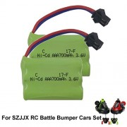 SZJJX Rechargeable Battery 3.6V 700mAh High Capacity Battery Pack for SZJJX RC Battle Bumper Cars Set of 2 Stunt Remote Control VS Vehicles 27MHz/40MHz , Speed Electric Trucks 2pcs/set