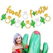 Mity rain Final Fiesta Guirnalda de cactus con purpurina dorada para despedida de soltera para fiesta mexicana, decoración de boda, juego de 2