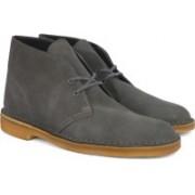 Clarks Desert Boot Grey Suede Boots For Men(Grey)