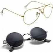 Debonair Retro Square Sunglasses(Clear, Black)