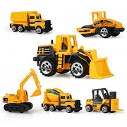 AEVEA 6 Set Construction Vehicle Cars Metal and Plastic, Aeava Trucks Excavator, Cement Truck, Dumper, Tank Bulldozer, Forklift for Kids Age 3+