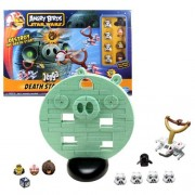 Hasbro Year 2012 Rovio ANGRY BIRDS Star Wars Game Set - JENGA Death Star Game Set with Frame Luke Skywalker Bird Chewbacca Bird Han Solo Bird Darth Vader Pig 4 Stormtrooper Pigs X-Wing Fighter Launcher 31 Plastic Jenga Blocks 1 Lock Block Die Base and Set